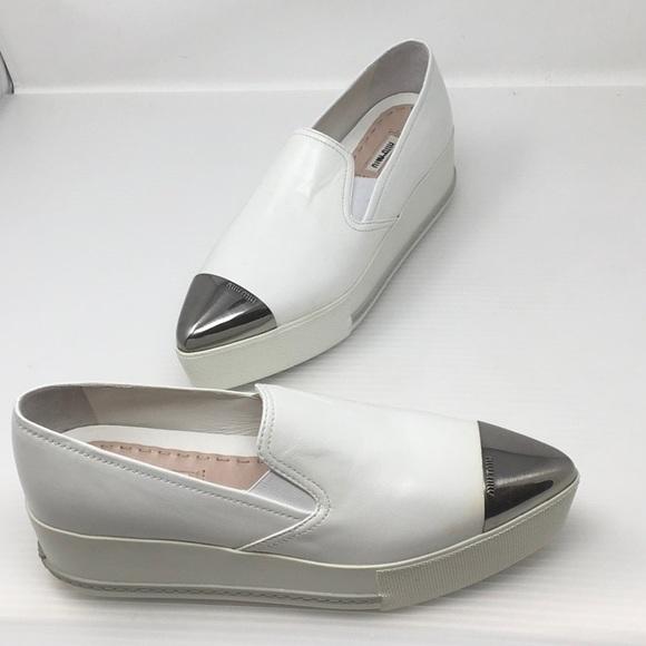 91728a90404d Miu Miu Platform Cap Toe Skater Sneakers. M 5b2fe703c6177706979bbb35